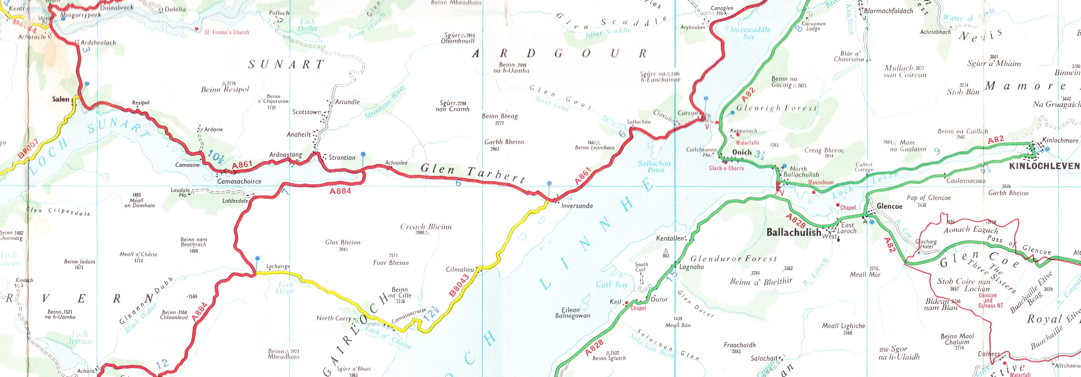 route from Glen Coe to Sunnart